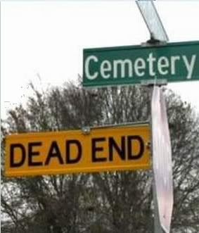 Cemetery road sign